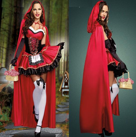 Sexy Deguisement Halloween Long Section Red Riding Hood Costumes Erotic Nightclub Queen Disfraces Cosplay Porm Queen Dress CE314