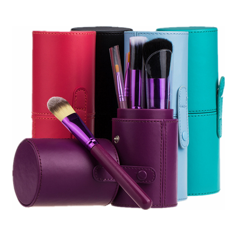 PU Leather Case Travel Empty Large Makeup Holder Make Up Brushes Organizer Bag Tube Cup Container Cosmetic Brush Storage Tool pro makeup brush holder container empty pu leather cosmetic case portable storage organizer cup optional