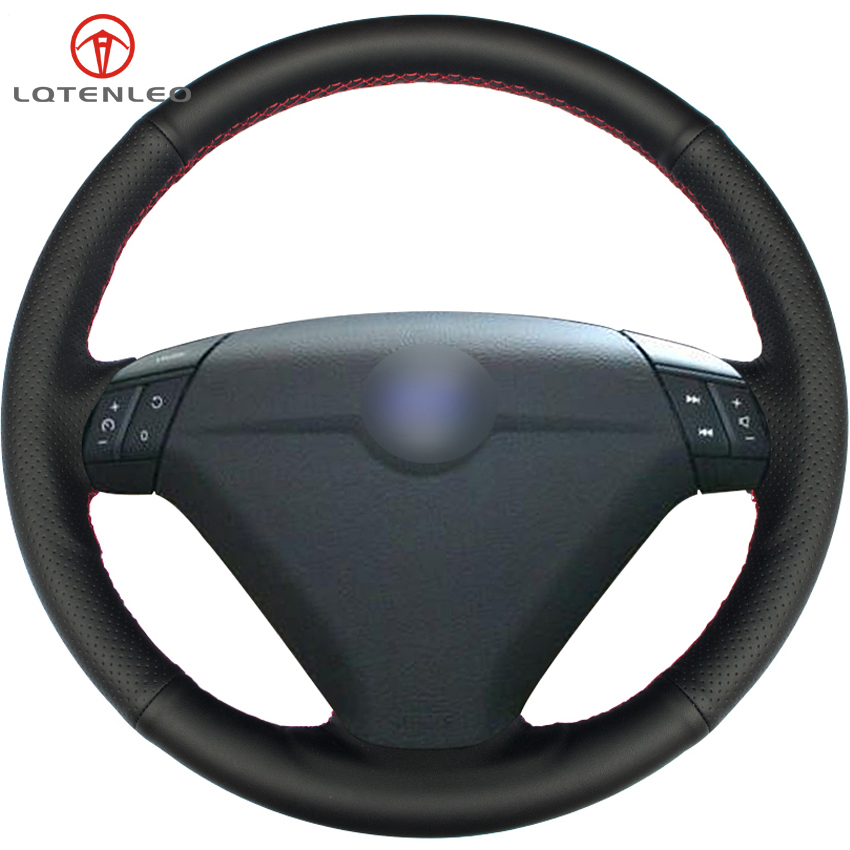 LQTENLEO Black Artificial Leather Car Steering Wheel Cover For Volvo S80 2004 2005 XC70 2004-20010 S60 2004-2010 XC90 2004-2006