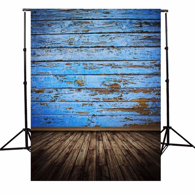 3X5FT Vintage Wood Floor Photography Background  Retro Blue Board Photographic Backdrops For Studio Photo Props 90 x 150cm vintage flowers wedding photography background light wood floor vintage vinyl backdrops for photography custom photo studio prop