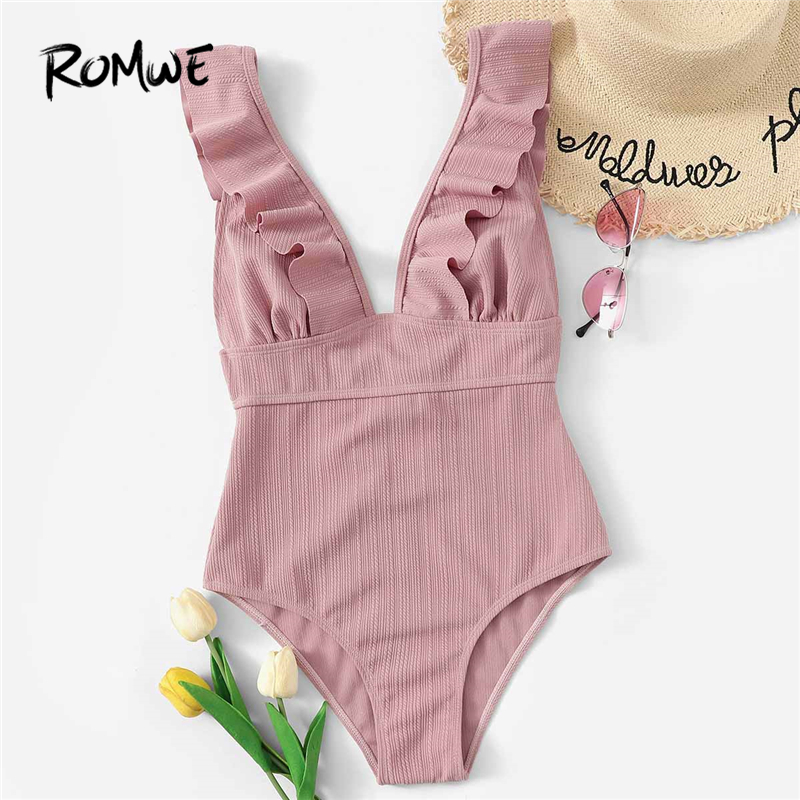 Romwe Sport Pink Solid Swimwear Plunge Neck Ruffle One Piece Swimsuit Women Summer
