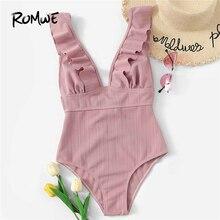 цена на Romwe Sport Pink Solid Swimwear Plunge Neck Ruffle One Piece Swimsuit Women Summer Wire Free Monokinis Beachwear Swimsuit
