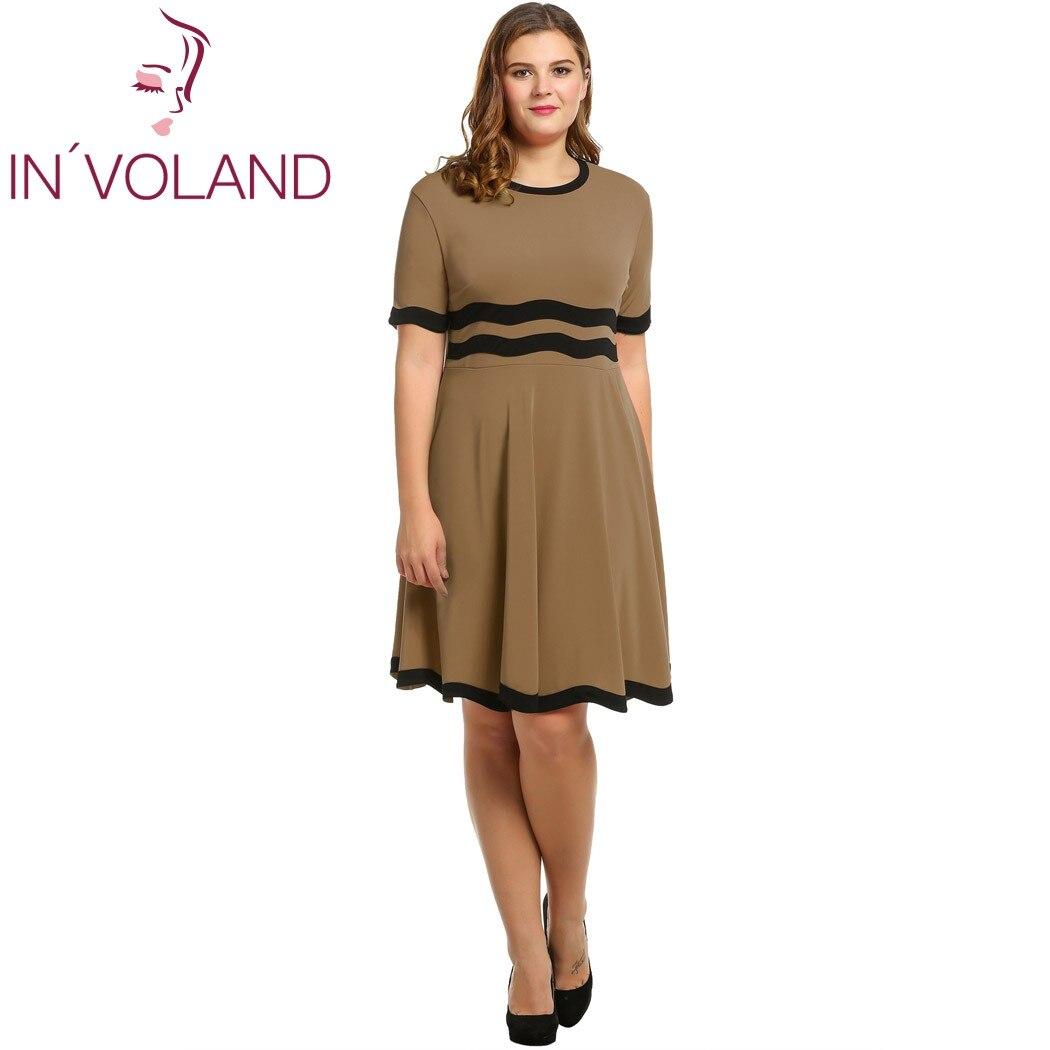 IN'VOLAND Dámské příležitostné šaty Velké velikosti 2017 Letní podzimní krátký rukáv Patchwork O krk Pullover Flare Party šaty Plus Velikost