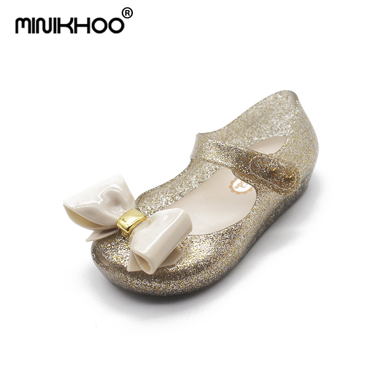 Mini Melissa 2Color Big Bow Girls Jelly Sandals 2018 New Melissa Children Shoes Baby Sandals Girls Beach Sandals Comfortable