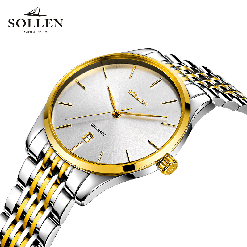 watch men SOLLEN 9008 automatic mechanical watches authentic luxury Tourbillon strip calendar male business watch gift 9008
