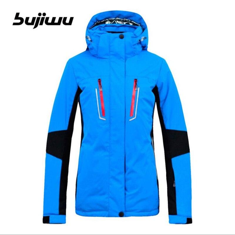 2018 Women Ski Jacket Snowboard Jacket Windproof Waterproof Super Warm Hooded Outdoor Sport Wear Female Winter Clothing Bujiwu