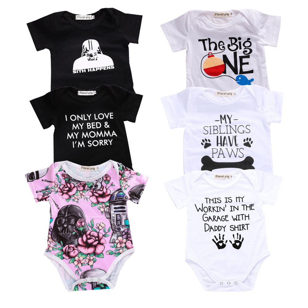 China Imported Baby Boy Girl Clothes Funny Letter Bodysuit Toddler Baby Clothing White Short Sleeve Tiny Cottons Outfits Onesie