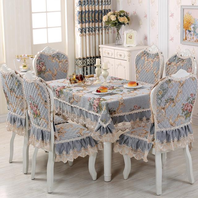 Rose Chenille Tablecloth & Chair Cushion Cover