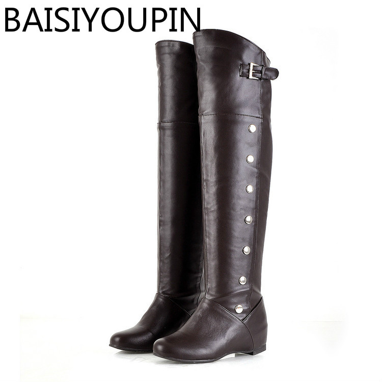 2018 Autumn Winter Custom Made Leather Shoes Increased Boots Knee Boots Big Size 43 46 47 Female Belt Buckle Boots Women Boot ensemble stars 2wink cospaly shoes anime boots custom made