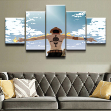 Home Wall Art Canvas Prints Posters 5 Pieces Anime One Piece Cloud Fire Paintings Living Room Decorative Framework Pictures