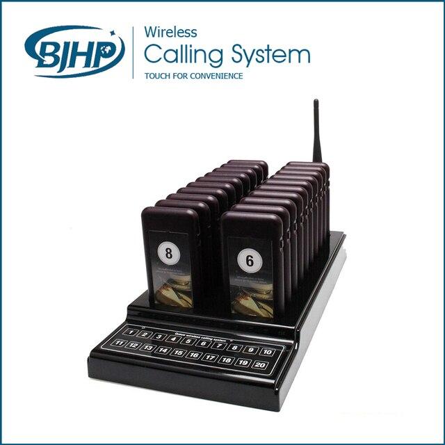 PagingSystem 20 pcs Coaster pager + 1 pcs Teclado sem fio Transmissor para Restaurante