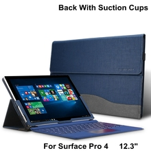 Creative Design High Quality Tablet Case For Microsoft Surface Pro 4 12.3″ Premium PU Leather Cover For Pro4 With Stylus Holder