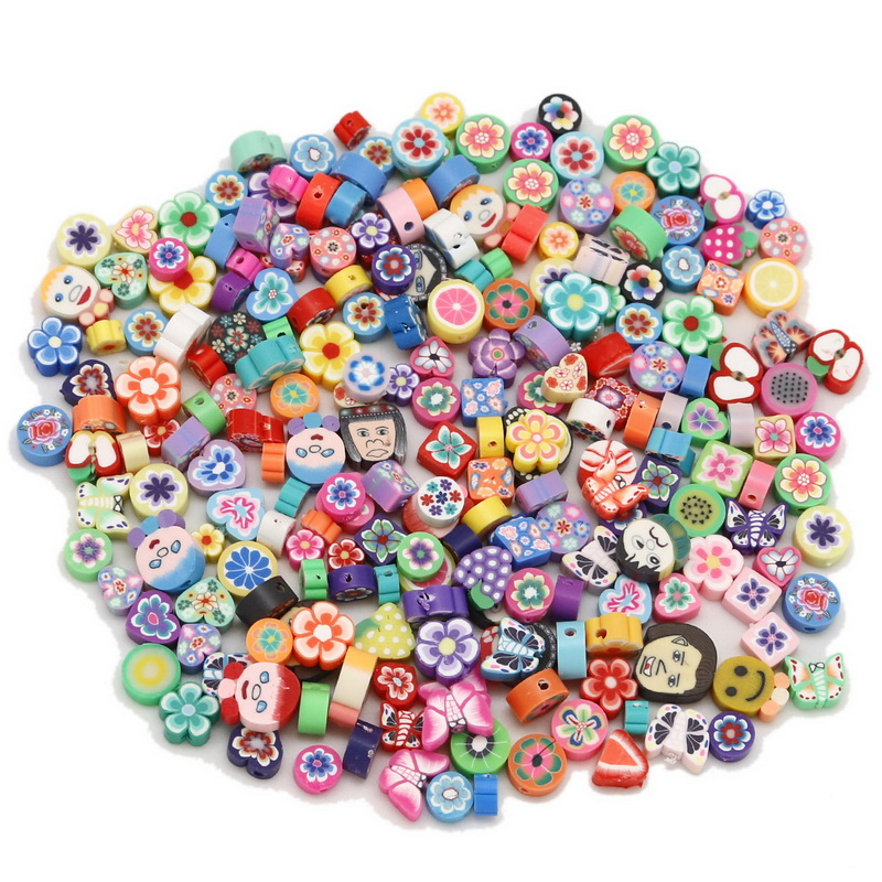 Beads & Jewellelry Making Supplies jewellery making supplies 25 Colorful Polymer Clay Spacer Heart Bead 18mm For DIY Decor Jewelry Making