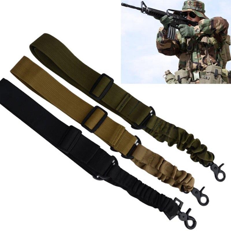 Práctico Ajustable Caza Táctico Un Solo Punto Honda Del Arma Rifle Sling Bungee