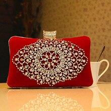 Красный вельвет, женские вечерние сумки ручной работы, украшенный бриллиантом клатч, сумка, Свадебный Кошелек, вечерние сумки