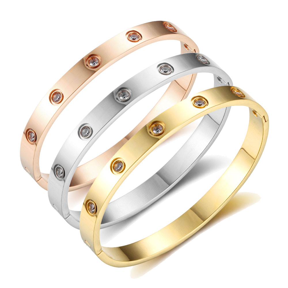 Stainless steel ten CZ stones gold Korean couple men and women buckle eternal ring of foreign trade carter LOVE bracelet