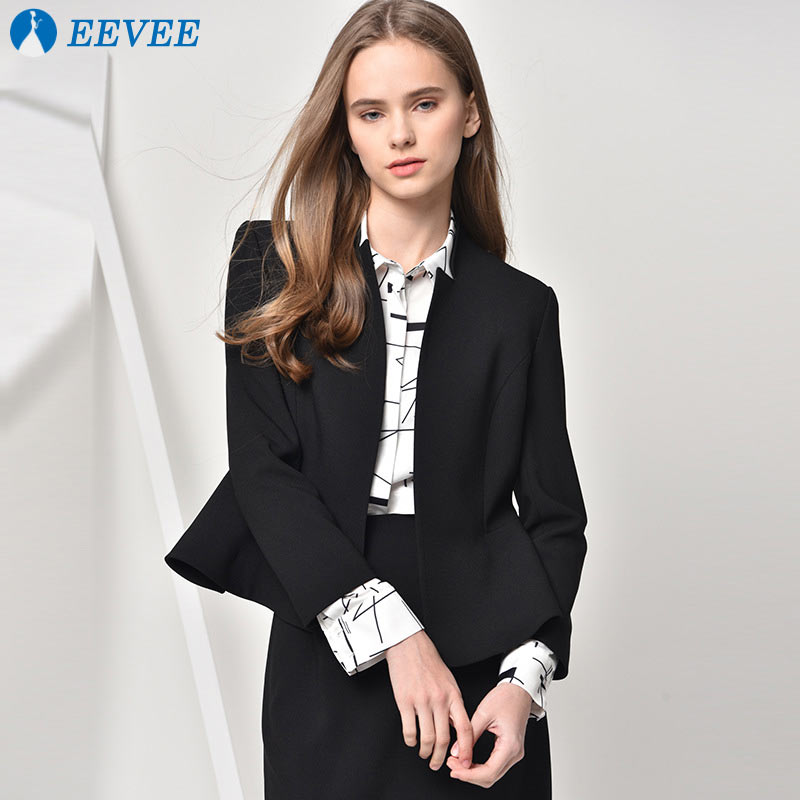 2018 New women's Suit jacket Black Casual temperament longsleeve Mandarin collar tops suit coats