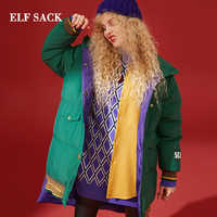 ELFSACK New Woman Down Jacket 90%White Duck Down Women Coat Thick Solid Full Femme Jacket For Winter Wearing Female Jackets
