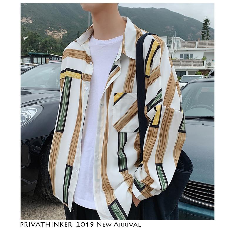 Privathinker Striped Shirts Men Fashion 2019 Mens Harajuku Patchwork Casual Shirt Long Sleeve Male Korean Designer Clothing
