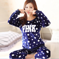 Female winter pajamas thick coral velvet warm wave point Ms. Korean long-sleeved flannel tracksuit Pyjamas