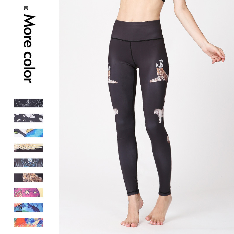 Explosive Watercolor Printed Yoga Pants New European and American Outdoor Quick-drying Bottom Nine-minute