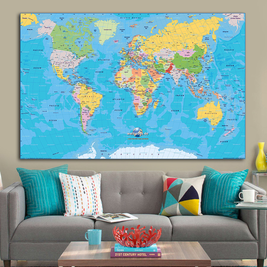 World Map Image Big Size Simple Colorful Canvas Wall Art Sticker Geographical Elaborate Design High-End Home Decor Cafe Pub