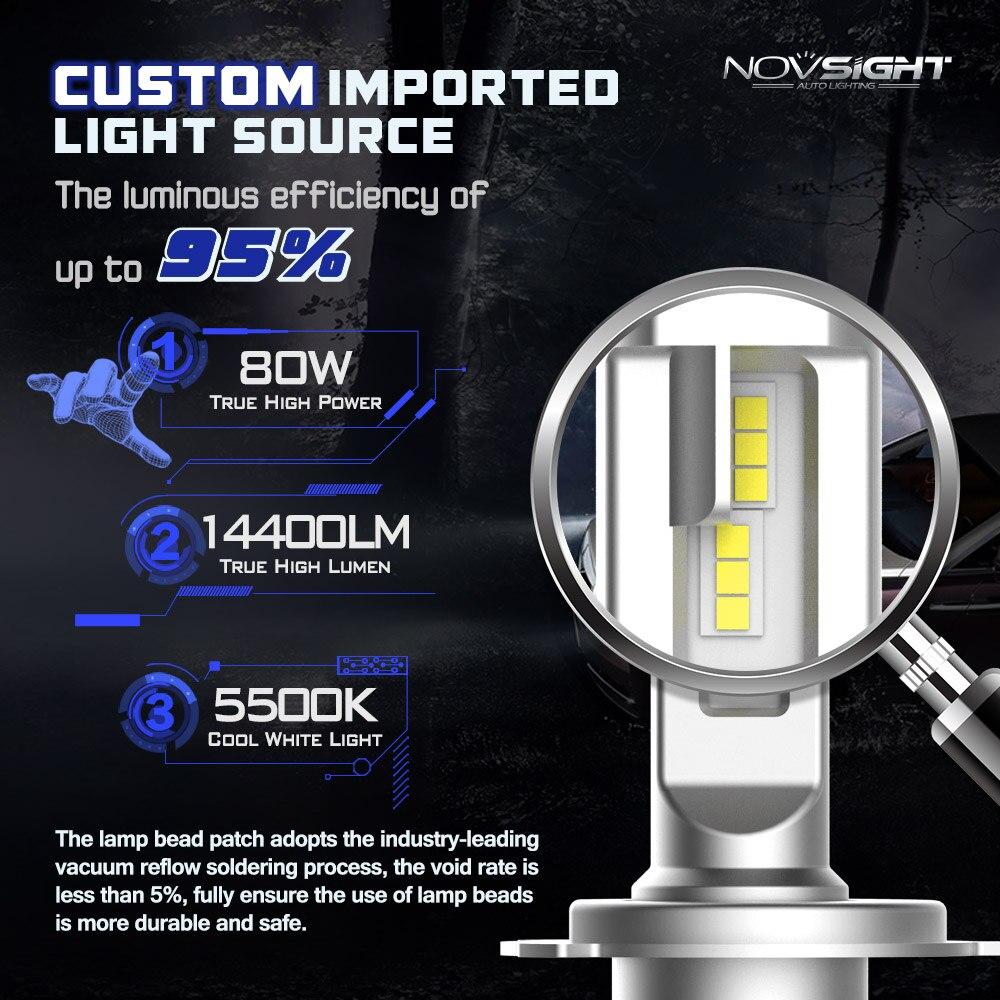 NOVSIGHT 車ヘッドライト H7 H4 LED H8/H11 HB3/9005 HB4/9006 H1 80 ワット 14400lm 自動電球ヘッドランプ 5500 6000k ヘッドライト h7 led 車のライト  グループ上の 自動車 &バイク からの 車のヘッドライトの球 (LED) の中 3
