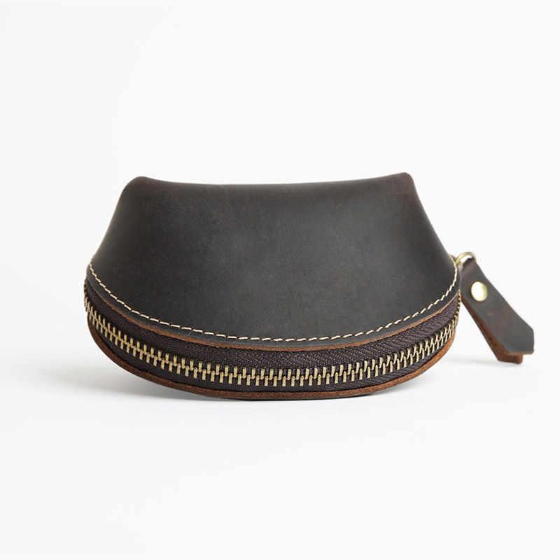 LEACOOL 2018 Mulheres Couro Genuíno Coin Bolsas Shell Design Moeda Pequeno Saco de Couro de Cavalo Louco Bolsa Chave bolsa de Dinheiro Mudança bolsa