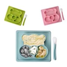 Детская тарелка для Кормление детей силиконовая миска с присоской столовых приборов с ложка детская фрукты лоток закуски блюдо дети посуда Еда контейнер