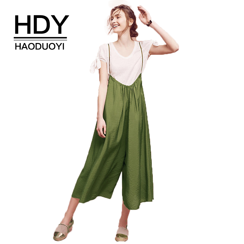 HDY HaoDuoYi Women's Fashion Green Spaghetti Strap Suspender Buttoms Playsuit Casual Cropped   Wide     Leg     Pants   Culotte Overalls