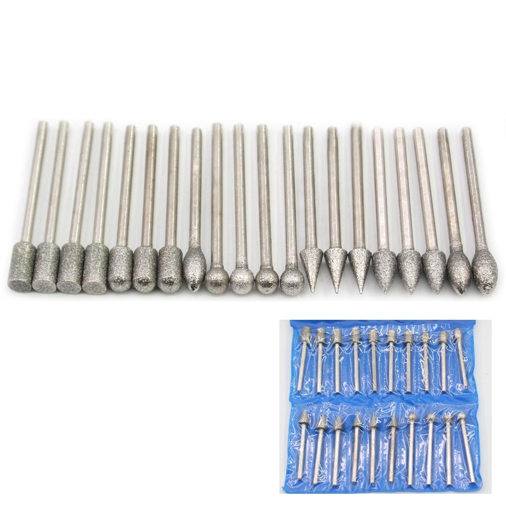 20pcs 6 Types Shank 3mm Grit #60/#150 Emergy Diamond Abrasive Grinding Bits Abrasive Head For Die Grinder/dremel/rotary Tools