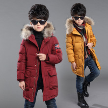 Winter Fur Hooded Jackets For Boys Cotton Padded Coats Thickeing Warm Children Parka Brand Patches Teenage Kids Outerwear 6-14Y