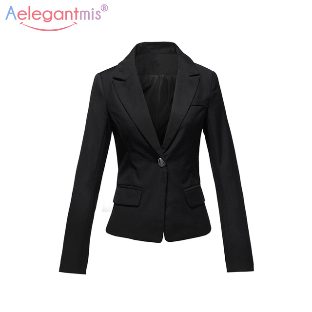 Aelegantmis 2018 Autumn Winter Slim Blazers Women Single Button Notched Blazers Black Plus Size Office Lady Work Suit Jacket  5