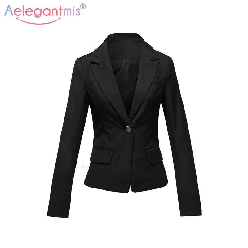 Aelegantmis Autumn Winter Slim Blazers Women Single Button Notched Blazers Black Plus Size Office Lady Work Suit Jacket #6