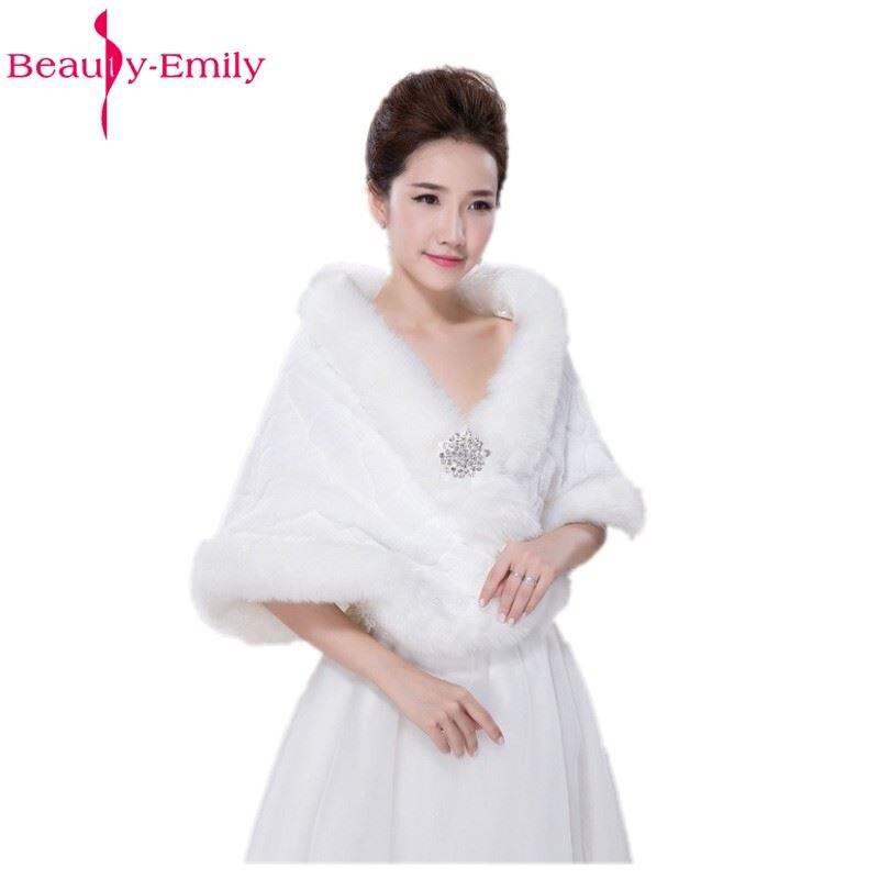 Image 2 - Winter Wedding Shawl For Bride White Fax Fur Wedding Wrap  Cape With Crystals Bridal Jackets Wedding CoatsWedding Jackets / Wrap   -