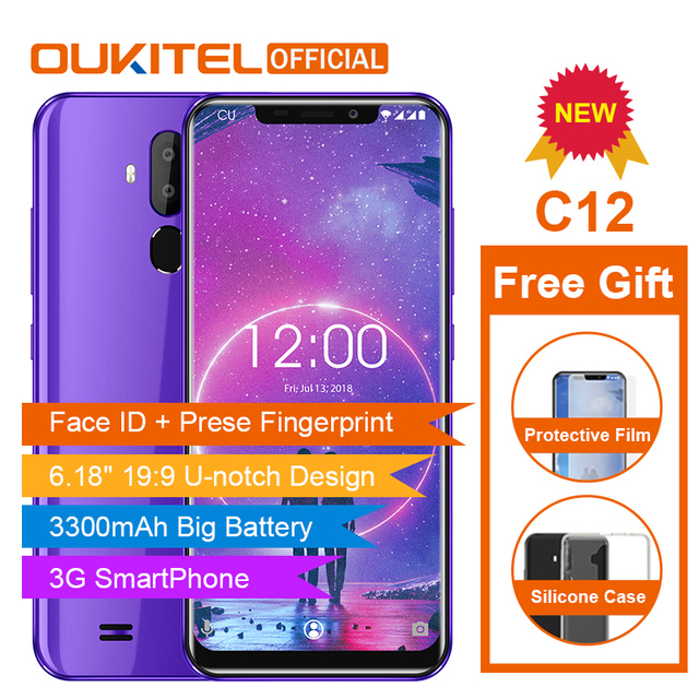 "OUKITEL C12 Face ID 6.18"" 19:9 Smartphone Fingerprint Android 8.1 Mobile Phone MT6580 Quad Core 2G RAM 16G ROM 3300mAh Unlock"