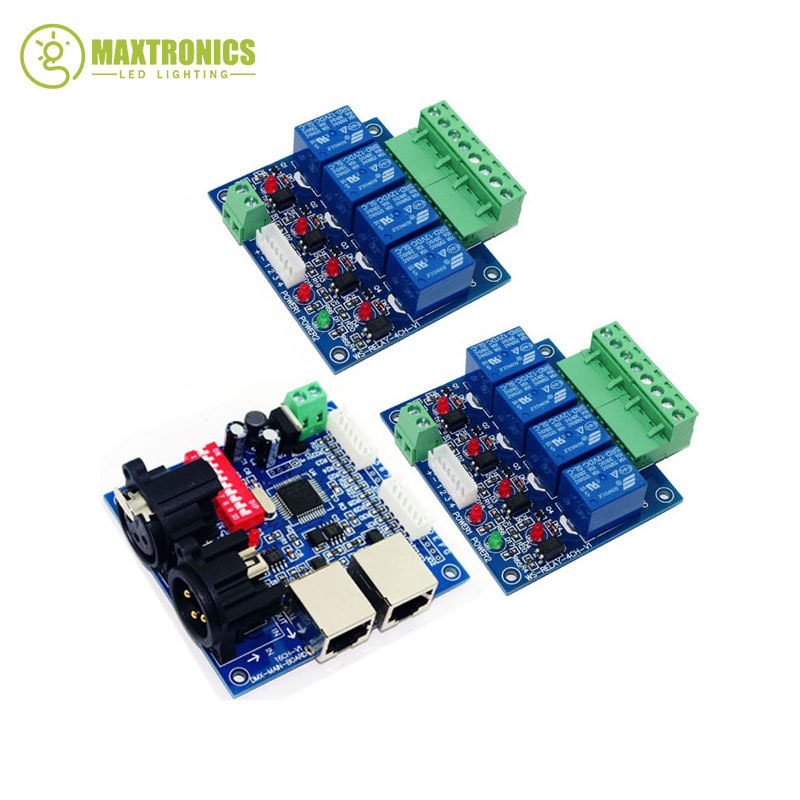 2x4CH Relay switch dmx512 Controller, 1xDMX512 XRL RJ45, relay output,DMX relay control,4way relay switch(max 10A) 8ch relay switch dmx512 controller relay output dmx512 relay control 8way relay switch max 10a ws dmx relay 8ch