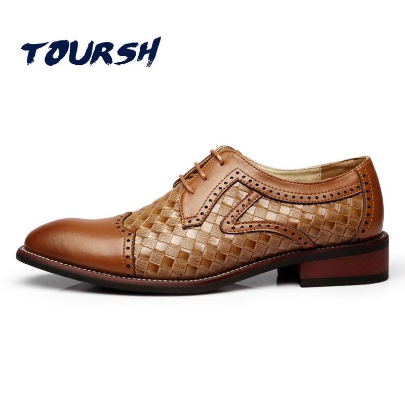 TOURSH British Style Men Dress Shoes Party Wedding Crocodile Leather Black Brown Men Oxford Shoes Brogue Lace Up Zapatos Hombre