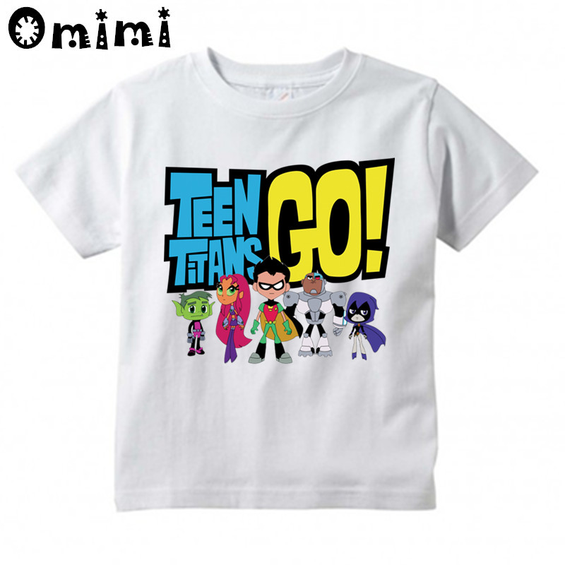 Boys and Girls Teen Titans Go Cartoon Printed T Shirt Children Great Casual Short Sleeve Tops Kids Cute T-Shirt cute scoop neck short sleeve zebra printed t shirt for women