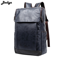 17 Inch Laptop Men S Backpack PU Leather School Bag Casual Buiness Backpacks Male Large Capacity