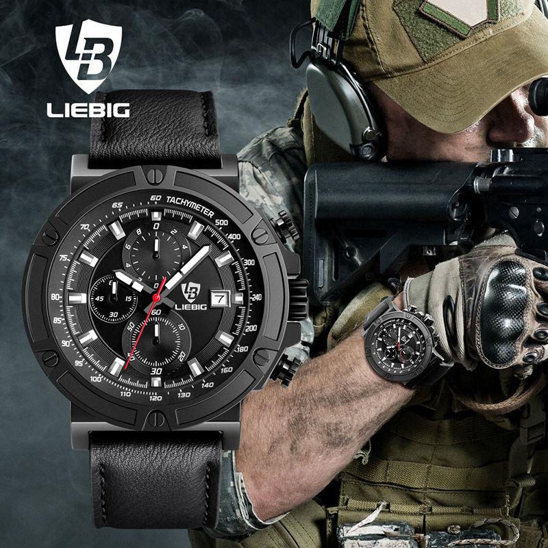 Fashion Multi-dial  Sports Watch Men Leather Strap Calendar Waterproof Military Analog Quartz Watches Relogio Masculino XFCS