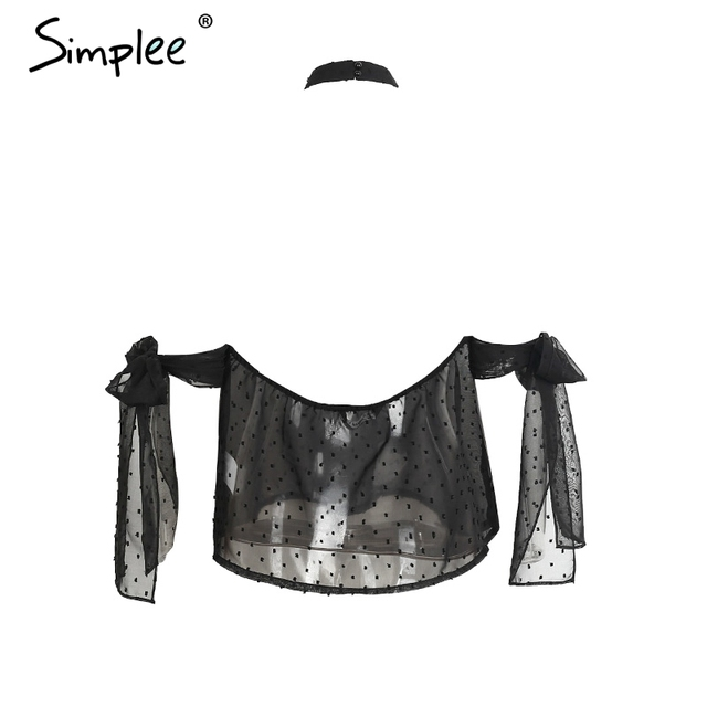 Simplee Halter off shoulder blouse shirt women tops Transparent white chiffon blouse Backless summer blouse chemise femme blusas