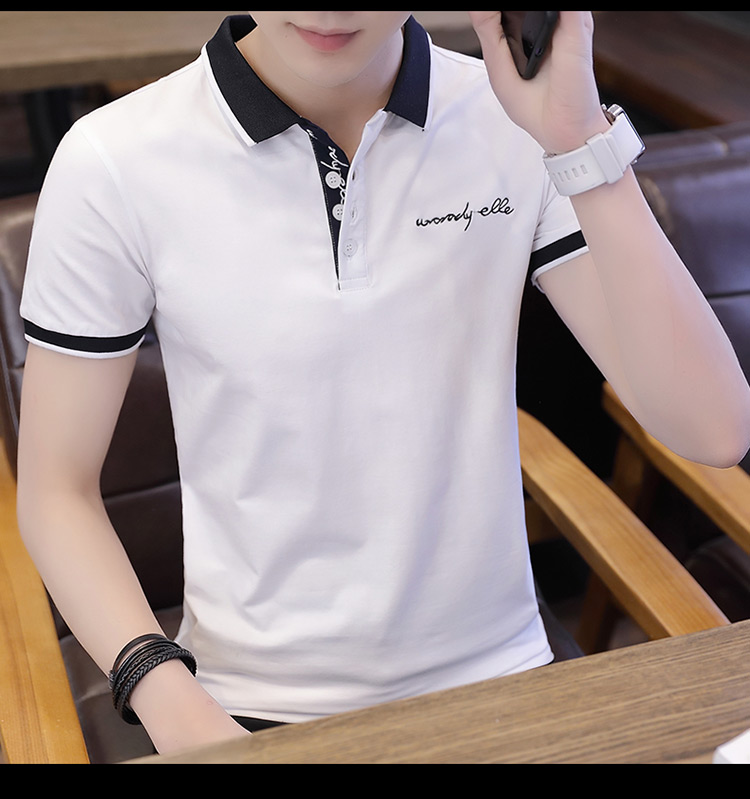 2019 men splicing t-shirts with short sleeves Comfortable in summer youth leisure lapel t-shirts 14