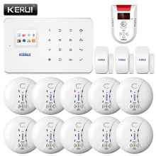 KERUI G18 Wireless Smoke Alarm System Fire Protection Gas SMS GSM Burglar Alarm System Security Protection Door Sesor Alarm(China)