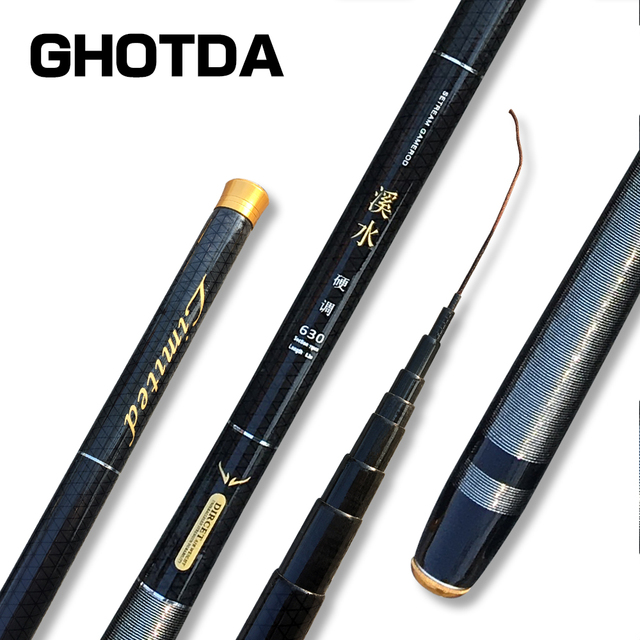 Best Offers GHOTDA Ultralight SuperHard Stream Hand Pole Carbon Fiber Casting Telescopic Fishing Rods Fish Tackle 3.6/4.5/5.4/6.3/7.2 Meters
