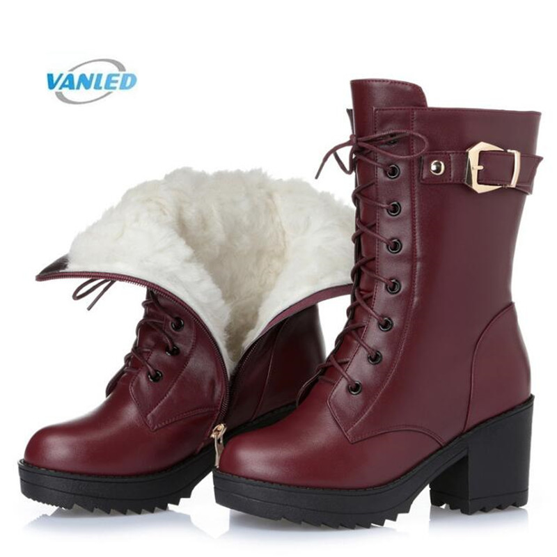 2018 Winter Warm Comfort Genuine Leather Boots Inside Wool or Plush Snow Boots Thick Bottom High-heeled Boots Women Martin Boots 2017 new women s genuine leather boots motorcycle boots rough with in tube high heeled boots thick wool really pima ding