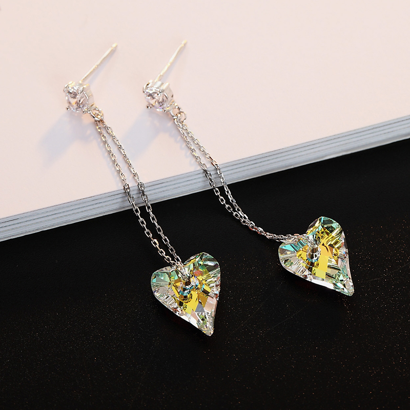 BAFFIN Original Crystals From Swarovski Wild Heart Pendant Earrings For Women Wedding Silver Color Long Chain Drop Pendientes