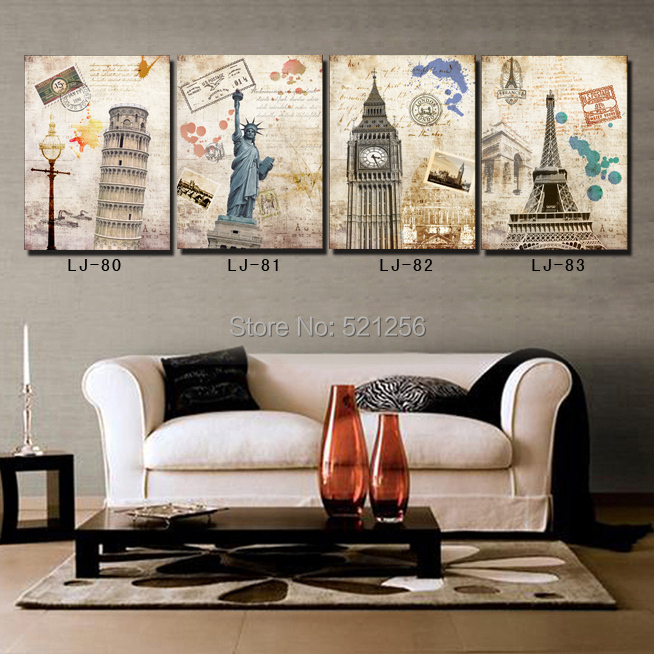 modern wall art home decoration printed oil painting pictures no frame 4 panel pisa liberty statue