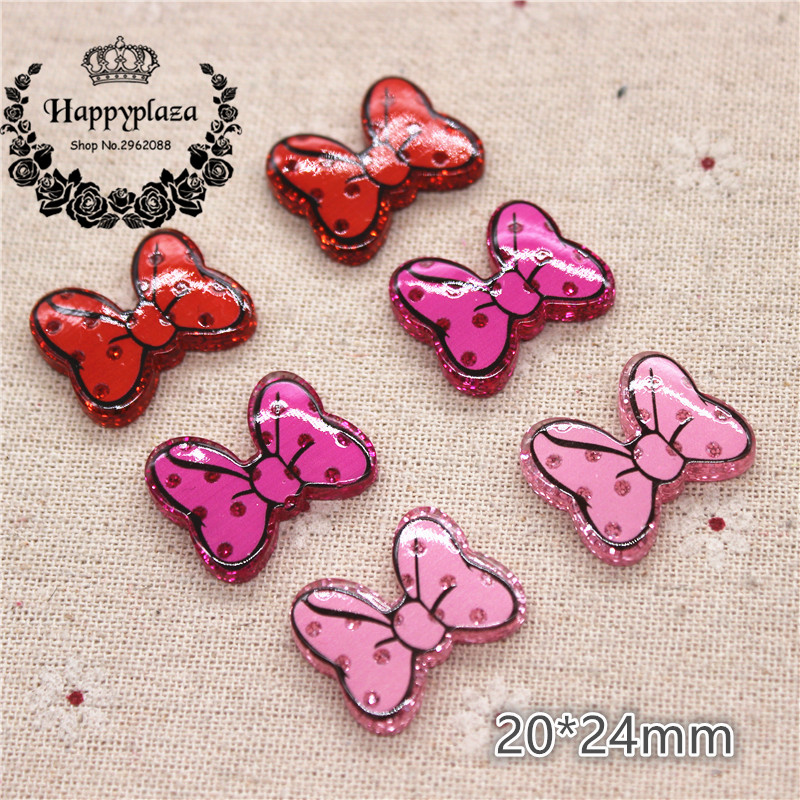 10pcs Kawaii Resin Glitter Red/Pink/Hot Pink Minnie Bow Flatback Cabochon DIY Hair Bow Center Scrapbooking Craft,20*24mm