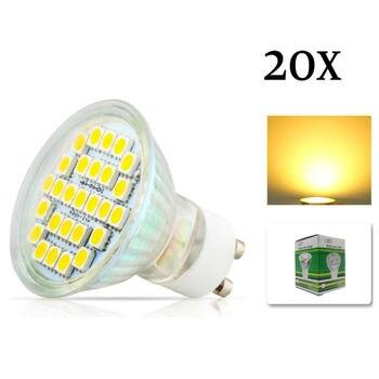 20x GU10 5050 SMD 27 LED 7w White Warm White Spotlight Spot Lights Bulb Lamp with glass cover 220V Energy Saving